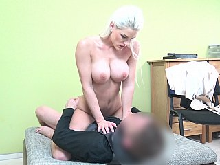 Blonde's pussy covered in cum